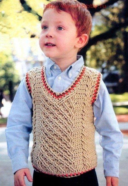 Delicadezas en crochet Gabriela: Chaleco de niño incluye dos modelos
