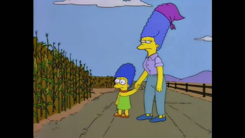 Marge in cornfield