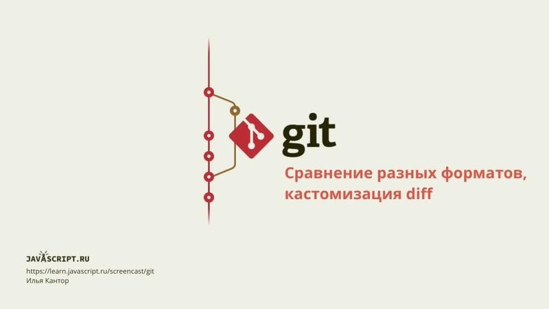 8.3 Скринкаст по Git – Просмотр – Сравнение разных форматов, кастомизация diff