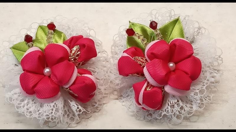 Заколочки Розовое счастье , из репсовой ленты, с кружевом.