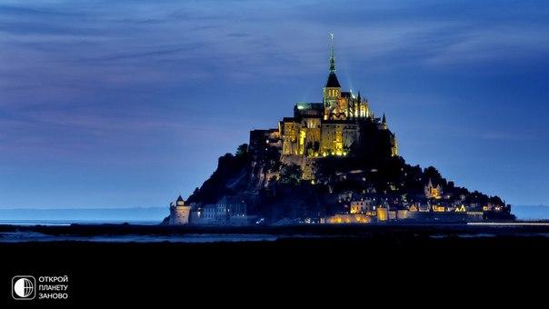 Мон-Сен-Мишель ночью, Франция