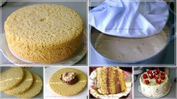 Высокий, нежный бисквит для торта (Без духовки!!!) Сколько себя помню,моя мама всегда готовила торты из этого бисквита. Получается ровный,высокий бисквит.Почти на все праздники пеку именно этот бисквит с разными кремами и получаются обсолютно разные торты. ДЛЯ ТЕСТА: 12 яиц 2 ст. сахара 2 ст. муки 1-2 ч.л. ванильного сахара ---------------------— ДЛЯ ПРОПИТКИ: 0,5 ст. воды 2 ст. л. сахара 1ст. л. коньяка (по желанию) ПРЕДИСЛОВИЕ: Бисквит печется на плите и в алюминиевой кастрюле! Нельзя…