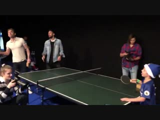 Olivier Giroud was put to the sword on the ping pong table!