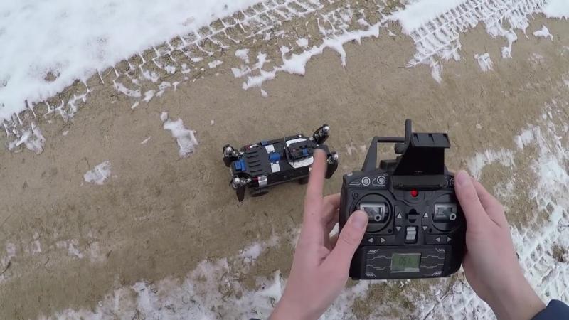 КВАДРОКОПТЕР - ТАНК. . Ездит, летает, с FPV поворотной камерой (RC flying tank quadcopter)
