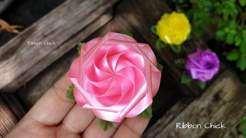 วิธีพับเหรียญโปรยทาน ดอกกุหลาบแย้ม 🌷 Ribbon Chic