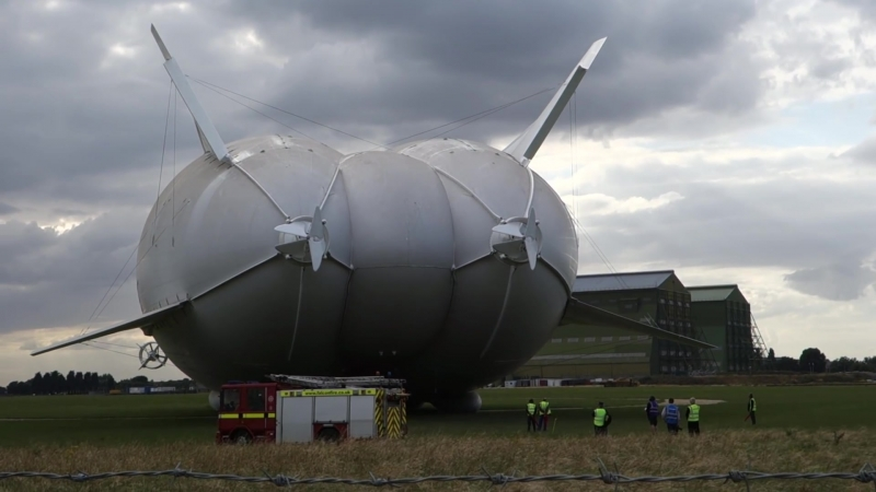 Airlander 10 full outdoor engine test for the first flight from Cardington, Bedfordshire