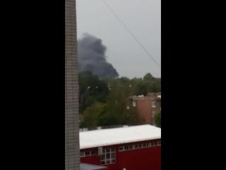 Пожар на электроподстанции в городе Брянск после урогана.