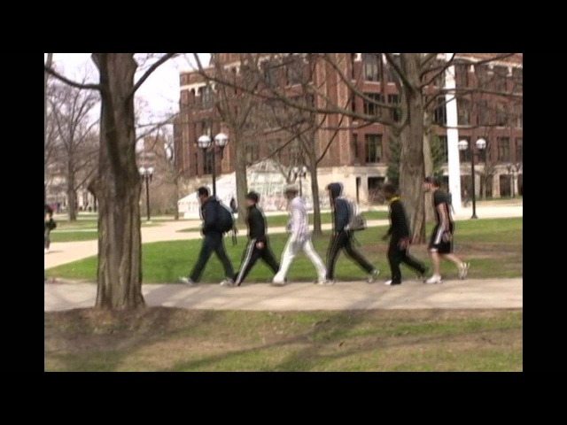 Oblivious Students Being Ghosted on the Diag, University of Michigan