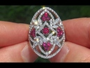 Certified Jewelry Sells VS Natural Red Ruby Diamond 14k White Gold Cocktail Ring - C394
