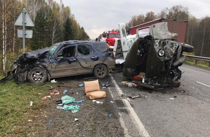 Четыре авто столкнулись на трассе Томск — Мариинск, двое пострадали
