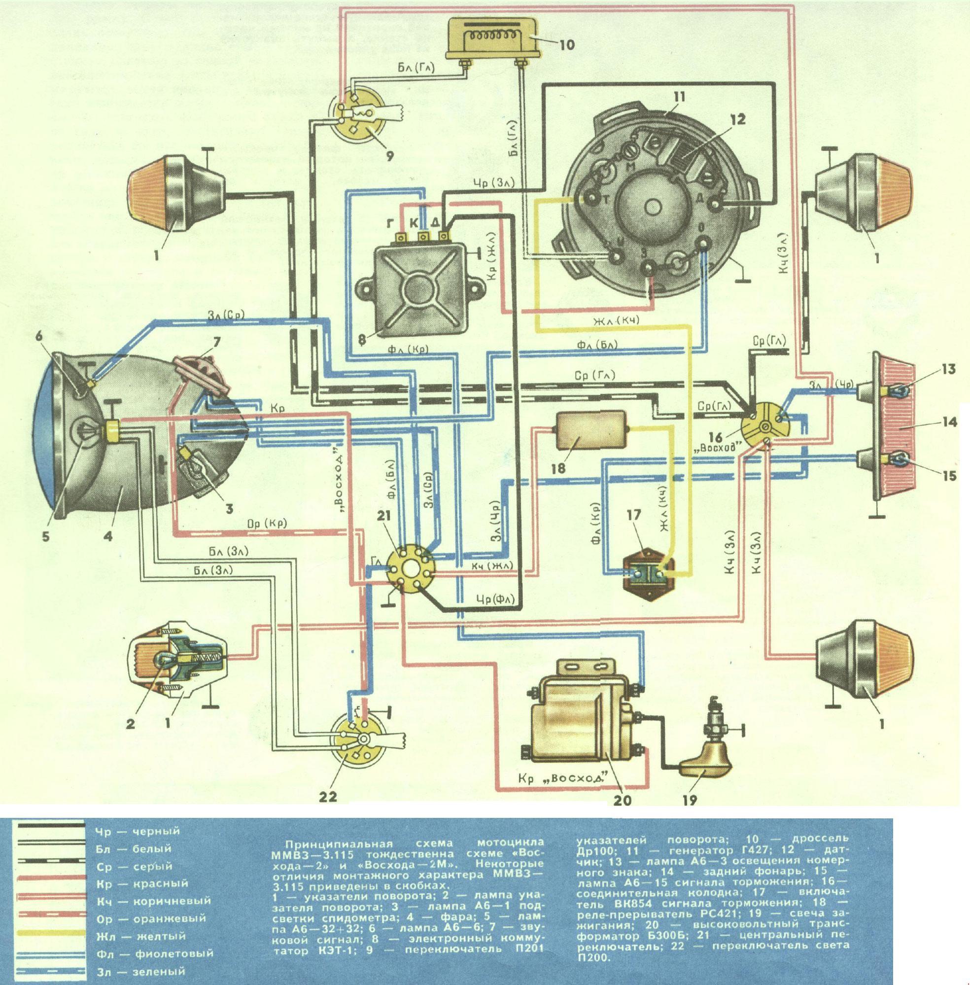 Схема подключения замка зажигания мотоцикла урал