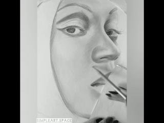 Фрагмент процесса. Портрет карандашом www.simpleart.space