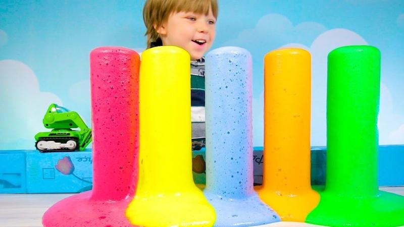 Как сделать опыт? Вулкан Цветная Пена в домашних условиях своими руками. Видео для детей