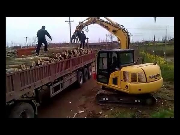Hydraulic log grab excavator rotating grapple