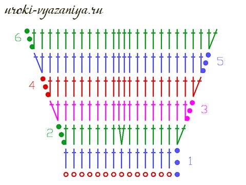 Прибавление петель крючком при вязании спицами6