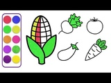 How To Draw For Kids Top 5 Fruits and Vegetables Drawing - Coloring Pages For Kids
