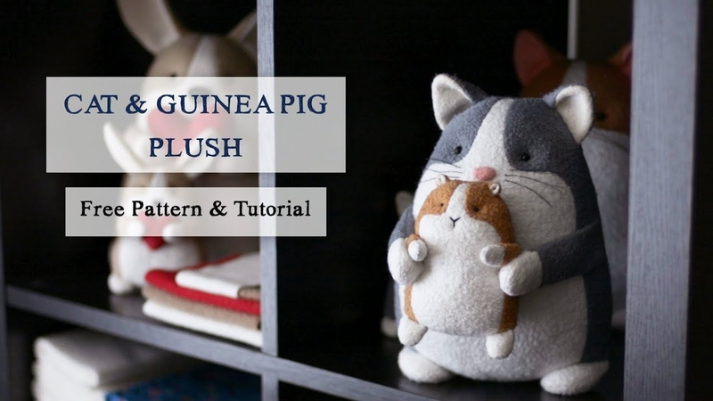DIY Plush Cat and Guinea Pig—FREE Cat Sewing Pattern