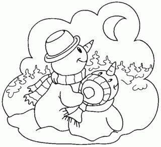 Новорічна дитяча розмальовка тема Сніговик