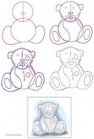 вот схема как рисовать мишек