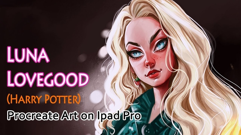 Procreate art on iPad Pro time lapse video Luna Lovegood from Harry Potter