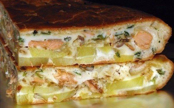 Рыбный заливной пирог с картошкой Ингредиенты: -Яйца – 3