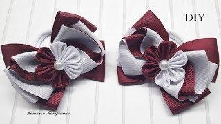 Школьные бантики из репсовой ленты School bows made from rep ribbon