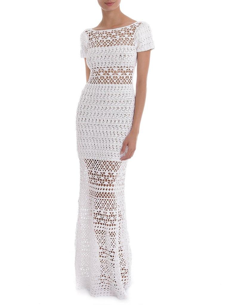Белое платье длинное крючком