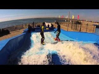 Искусственная волна для серфинга Sharkwave. Вэйк плюс флоуборд. Это вам не Flowrider.