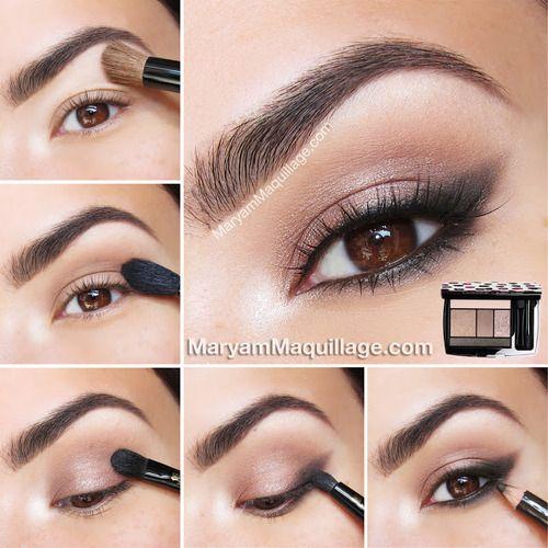 1Простой вечерний макияж для карих глаз фото-урок поэтапно.