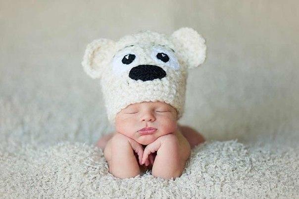Вязание детской шапочки Мишка.