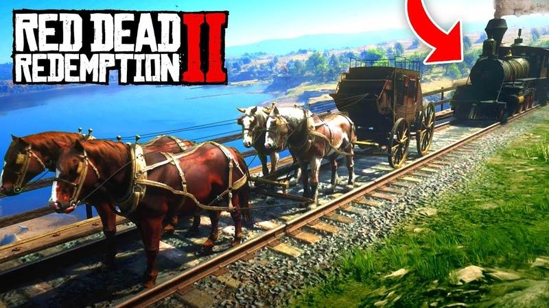 1 TRAIN vs 4 HORSES! (Red Dead 2 FAILS FUNNY MOMENTS! 2)