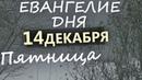 Евангелие дня 14 декабря, ПЯТНЦИА. Объяснение. Православный календарь