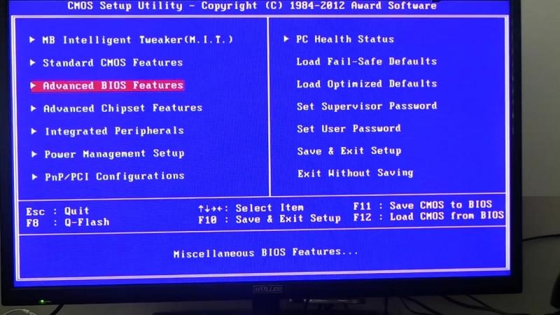 Настройки AWARD BIOS для установки Windows с флешки