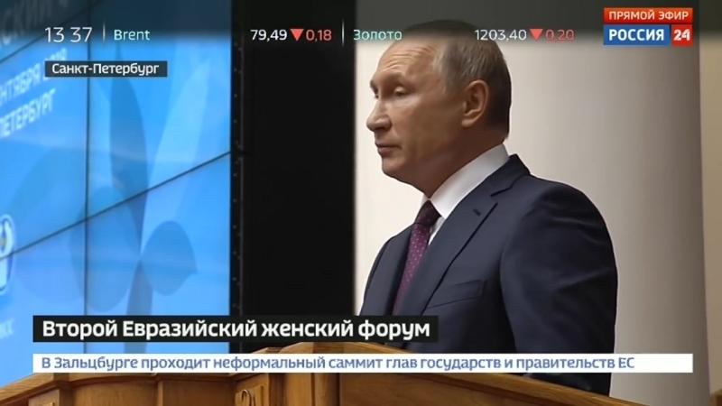 Речь Путина на Евразийском женском форуме в Петербурге