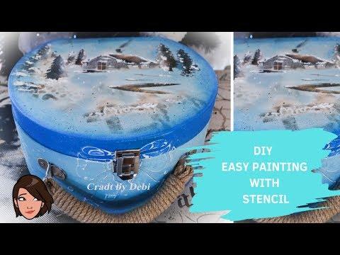 Diy Tutorial - Easy Painting With Stencil - Εύκολη Ζωγραφική με Στένσιλ - Craft by Debi