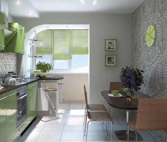 Вариант присоединения лоджии к кухне (1 фото) - картинка