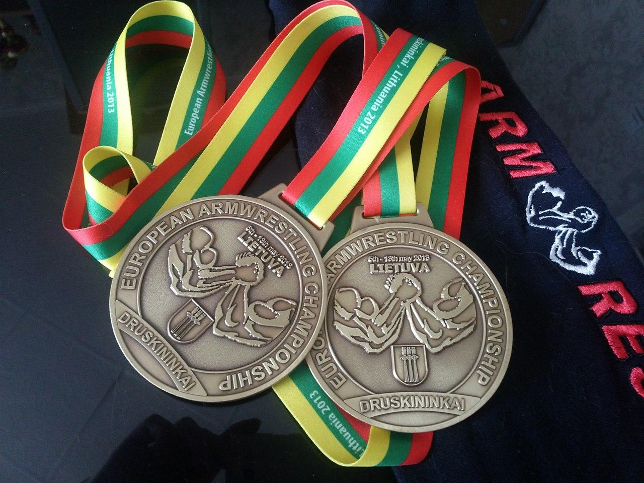 Ekaterina Nikisheva's bronze medals from the 23rd European Armwrestling Championships 2013, Druskininkai, Lithuania │ Image Source: Katerina Nikisheva