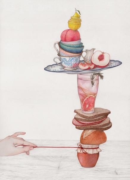 Хрупкие композиции скоропортящихся продуктов висят на веревочке в иллюстрациях Вики Линг В своей серии, Висящие на веревочке, иллюстратор Вики Линг исследует хрупкость и неустойчивость