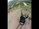 Спуск с горы на велике с 360 градусной камерой на дроне
