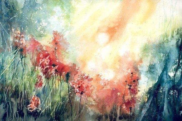 Акварельные лучи, пробивающиеся сквозь леса, от художника Malgorzata Szczecinska.