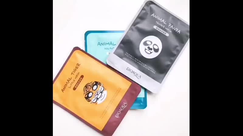 Забавные тканевые маски с изображением животных серии Animal от бренда bioaqua 💦 ¦ Маски хорошо увлажняют и питают кожу, привод
