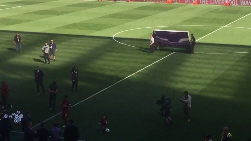 Lovely scenes at Anfield as Mohamed Salah's daughter is cheered by supporters each time she kicks a ball about.