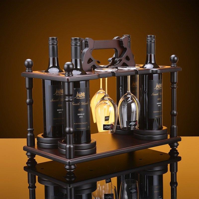 Красивая подставка для винных бутылок и бокалов -