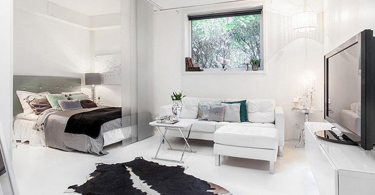 Гостиная-спальня в квартире 45 м в Гётеборге / Швеция - http://kvartirastudio.