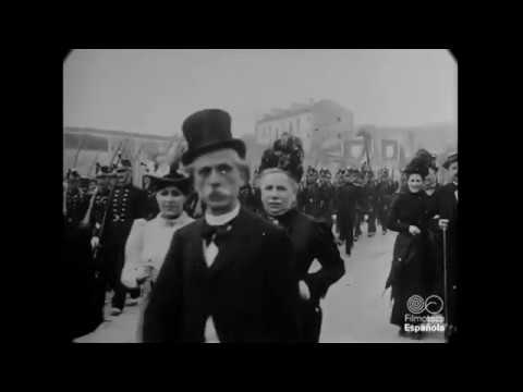 1900 - Parade of Guards and Citizens in France (speed corrected w/ added sound)