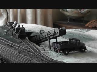 Действующая диорама в 43 масштабе. Погрузка угля в грузовик форд.