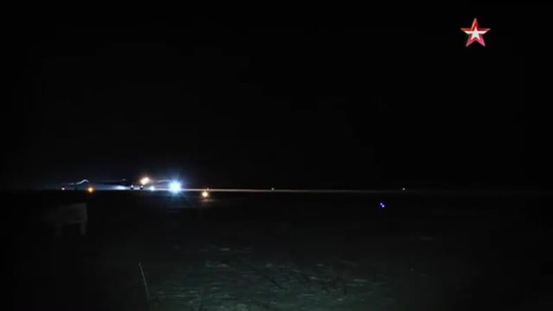 Возвращение стратегических ракетоносцев Ту-160 на аэродром базирования в РФ
