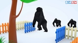 Learn Colors with King Kong and Cows for Kids Fruits BinBin