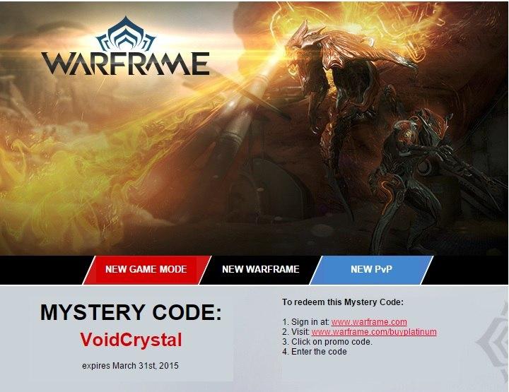 Халявя,новый код для игры Warframe