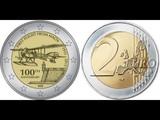 2 евро, Мальта 100 летие первого авиаполёта с Мальты 2015